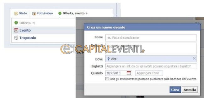 Feste private come creare un evento su Facebook